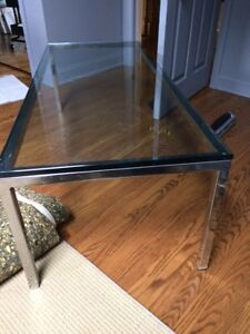 Square Solid Chrome and Clear Glass Top End and/or Coffee Table