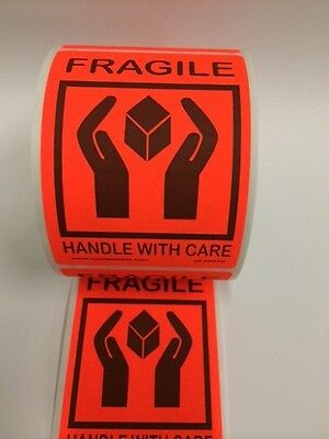 250 Fragile Labels Stickers 4.250 X 3.125red Neon Fluorescent Color 250 New