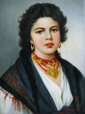 Porzellan Bild Platte Plaque Schwarzhaarige Schönheit nach Gustav Richter 1850