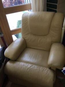 Butter Yellow Leather Reclining Chair