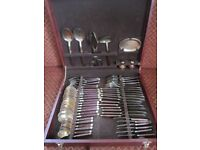 Canteen Cutlery 55 Pieces Bronze With Rosewood Handles + S&P With Tray