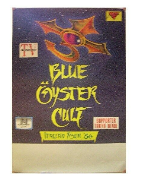 Blue Oyster Cult Poster Italian Tour 1986
