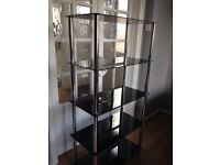 Modern Black Glass Shelving unit / Bookcase in great condition