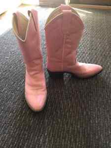 Girls Pink Leather Cowboy boots  Size  8 / 9