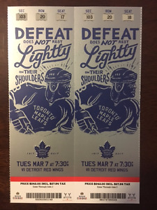 TORONTO MAPLE LEAFS V. DETROIT RED WINGS - GREAT SEATS!!