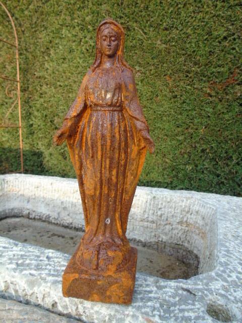 St vierge en fonte statue en fonte rouill pour niche - Enlever rouille sur fonte ...