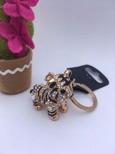 CUTE TIGER CUB Keyring Diamante Rhinestone handbag Charm Bling *NEW*