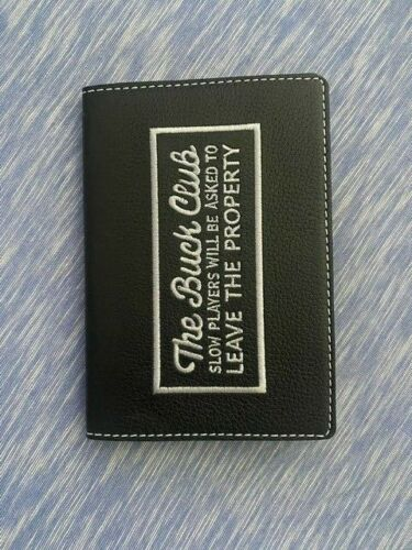 The Buck Club TBC Black and Silver scorecard holder made by Coobs