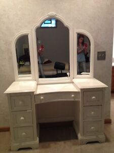 white vanity desk with attached mirror ebay