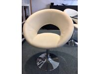 'Dwell' Circular Glass Table & White Swivel Chairs - Offers Considered