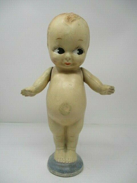 Vintage Kewpie Bisque Doll on Blue Footed Base 12""