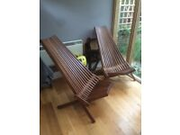 Teak garden lounge chairs