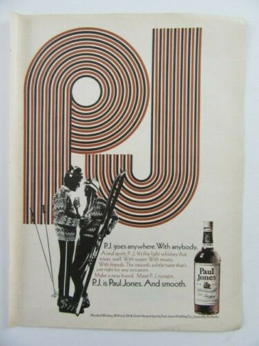 1969 PAUL JONES American Blended Whiskey Snow Skiers Magazine Print Ad