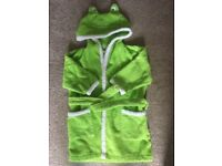 QUALITY BABY/TODDLER TOWELLING 'FROG' DRESSING GOWN - AS NEW