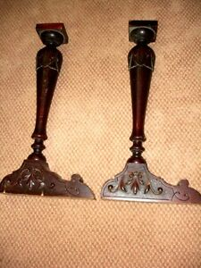 "salvaged 22"" FURNITURE LEGS carved wood ANTIQUE pair"