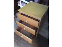 Bedside Chest of Drawers Mid-century Meredew Wooden