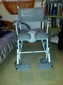 Self Propelled Shower Chair (£659.54 new), Never Used Freeway model, with Removable Commode