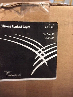Case Of 50 Cardinal Health Silicone Contact Layer 4x7 In New