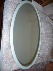 Large oval bathroom mirror with cabinet behind - lovely - pristine - really must see