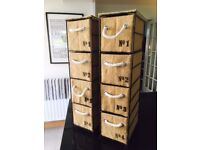 GORGEOUS NEXT FRENCH SHABBY CHIC HESSIAN NUMBERED STACKING STORAGE DRAWERS X 2