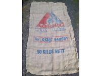 Vintage *HESSIAN SACK* Agrico UK Ltd Garden Jute Burlap Upholstery Fabric No.A