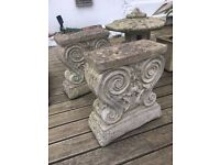 2 VINTAGE STYLE SMALL LOW PILLARS TO MAKE A BENCH OR TABLE FOR SALE!!!!!