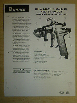 Binks Mach 1 Mach 1v Hvlp Air Spray Gun Parts User Manual