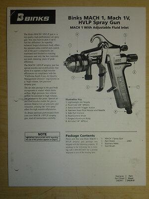 Binks Mach 1 Mach 1v Hvlp Air Spray Gun Parts User Manual
