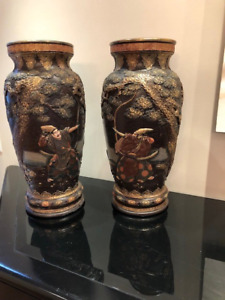Pair of Antique Japanese Composition Vases