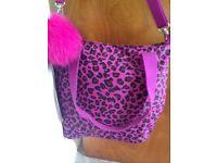 Ladies Pink Leopard skin Print Kipling Handbag