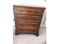 Record deck storage mahogany chest