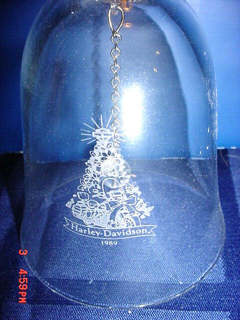 Harley Davidson 1989 Christmas Tree Crystal Dinner Bell Rare New