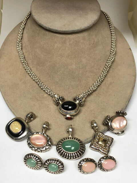 Joseph Esposito Sterling Silver Snap Necklace 6 Pendant 2  Earrings LOT