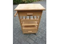 Wooden Kitchen Trolley With Drawers, Wine Rack & Shelves