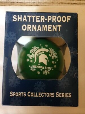 Michigan State Spartans NCAA Shatter-Proof Christmas Ornament NIB FAST SHIPPING