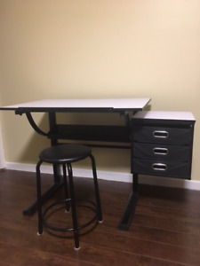 Adjustable Drafting Table - Desk with Stool