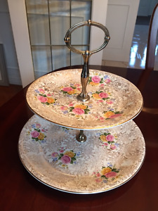 CrownFord Burslem 2 Tier Chintz Cake Tray