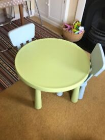 IKEA Mammut childrens table and two chairs