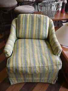 Swivel Yellow Stripped Tub Chair