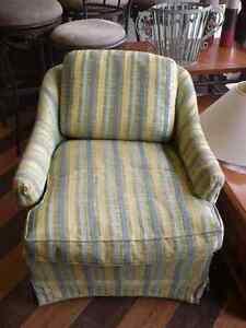 Swivel Yellow Stripped Tub Chair