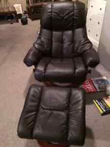 Leather Swivel Recliner and Ottoman (Dark Brown)