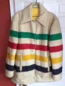 Vintage Hudson's Bay Striped 4 Point Blanket Reversible Jacket