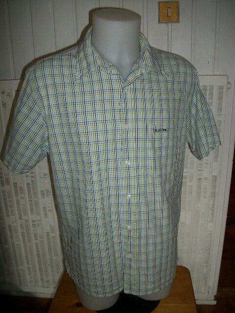 Chemise manche courte coton rayé blanc bleu vert marron  mise au green l 42