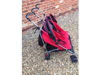 Mothercare MPV Double Buggy RED/NAVY with rain cover.
