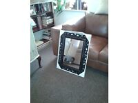 """large black ornate mirror still in the box 26"""" by 20"""" by timless elegance 14.00 wavertree l15 new *"""