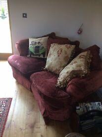 2 x Red Velvet Settees - Sofas in good condition