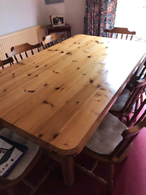 Solid Pine Table & 8 chairs