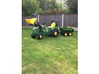 John Deere X-Trac Ride On Pedal Car Tractor Loader & Halfpipe Trailer