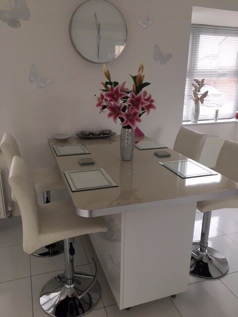 Wren Kitchen Breakfast Bar Table Top In Galaxy White Metallic