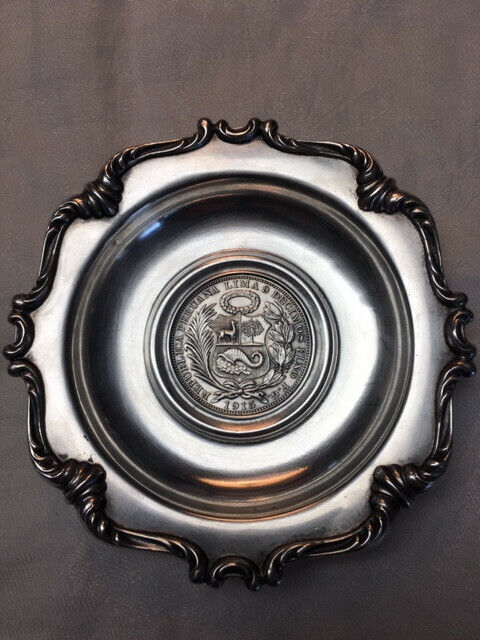 Sterling Silver Ashtray with 1915 Un Sol Pervian Coin, excellent condition